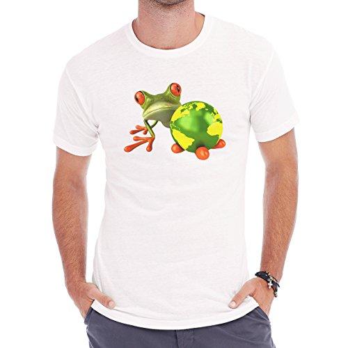 Frog Green World Red Eyes Herren T-Shirt Weiß