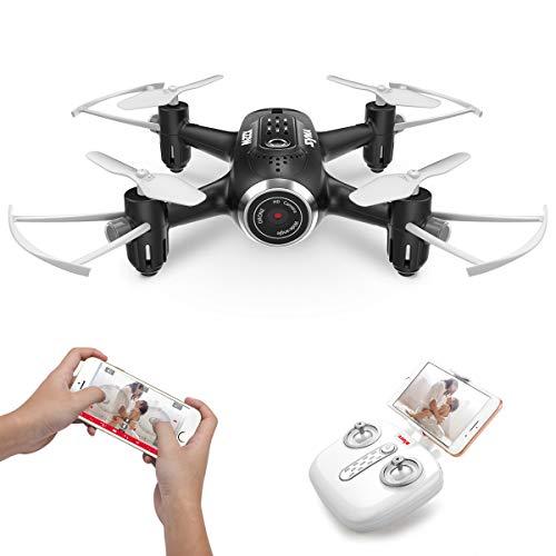 Mini micro droni piccolo con telecamera fpv syma x22w tasca telecomandato quadricottero drone per bambini con led leggero, 2.4ghz gyro a 6 assi, modalità senza testa, impostare alto, rotazione(nero)