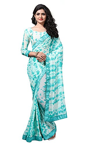Fab Valley Women Georgette Shibori Print Saree With Blouse Piece (Multi Color)