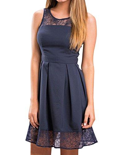 Kleider Damen ärmellos Schulterfrei Minikleider einfarbig Kleid Abendkleider Spitzen Stitching Rundkragens Partykleid Cocktailkleid Ballkleid ( Asiatische XL/EU42) Blau (Scoop Strapless)