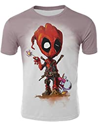 LeeQn 3D Animado Camiseta De Manga Corta Cuello Redondo De Dibujos Animados  Deadpool (XS- 916e958bf7dd