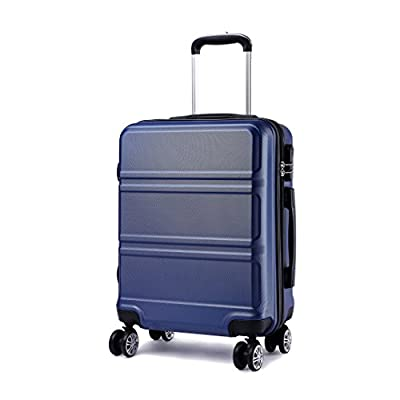 Kono 20 inch Cabin Suitcase Lightweight ABS Carry-on Hand Luggage 4 Spinner Wheels Trolley Case (Navy) - suitcases