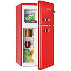 Klarstein Irene • Combiné réfrigérateur • 61L • Congélateur 24L • Classe A+ • Rétro • Rouge
