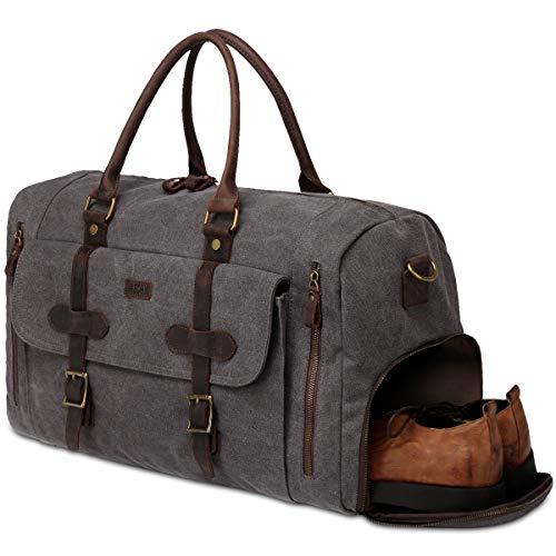 Bolsa de Viaje, VASCHY Bolsa de Equipaje Bolsa de Fin de Semana Lona Bolsa de Trabajo Cuero con Compartimento para Zapatos 46 litros Equipaje de Mano de Holdall(Gris)