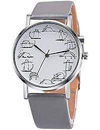 Cebbay Reloj de Cuarzo de los Hombres Dial Retro patrón de Gato Reloj analógico de aleación
