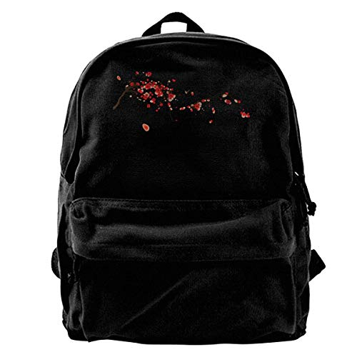 Rucksäcke, Daypacks,Taschen, Canvas Backpack Flowering Cherry Unique Print Style,Fits 14 Inch Laptop,Durable,Black -
