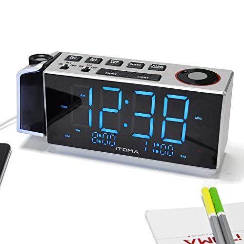 Projektionswecker, iTOMA FM-Dual Alarm-Radiowecker, USB-Aufladung, Digital-FM-Radio, Nachtlicht, 1,8 Ice Blue-LED-Anzeige, Auto/Manual Dimmer (CKS509) 1.8 Manual