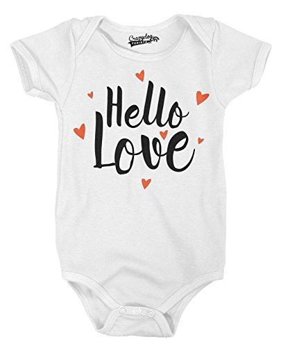 Crazy Dog Tshirts Hello Love Adorable Heart Infant Baby Creeper Bodysuit (White) 6-12 Months - Baby-Jungen - 6-12 Months (Neugeborenen-white Creeper)