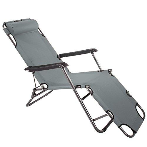 Smartfox Sonnenliege Gartenliege Strandliege 3 Sitz-/Liegepositionen ca. 180 cm Anthrazit