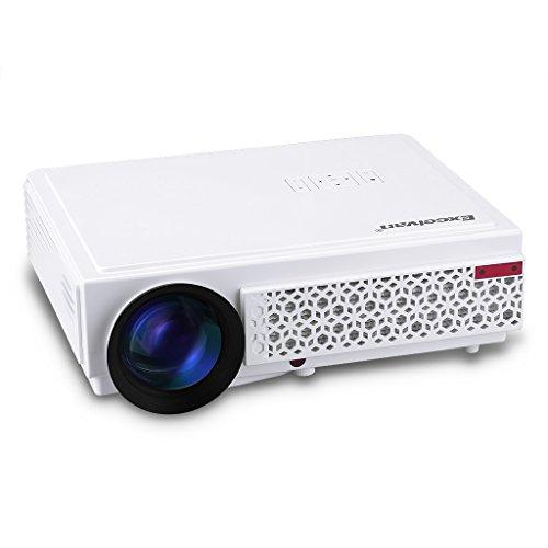 """Excelvan 96+ Videoproiettore Portabile (3000 Lumens 1280x800 HD Home Theater con 5.8"""" TFT LCD Display, supporto 3D 1080P, ATV, HD, VGA, USB, DVD, con HDMI per Laptop, Smartphone, PS4, TV-Box) Bianco"""