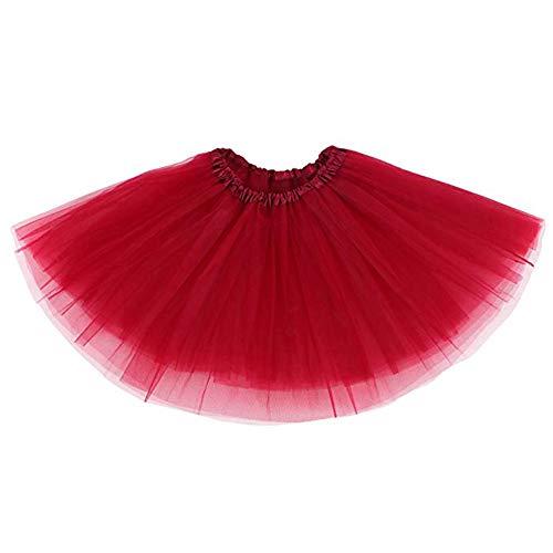 Ruiuzi Damen Tütü Rock Minirock 4 Lagen Petticoat Tanzkleid Dehnbaren Mini Skater Tutu Rock Erwachsene Ballettrock Tüllrock für Party Halloween Kostüme Tanzen (rot)