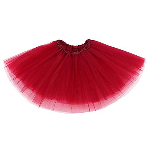 Ruiuzi Damen Tütü Rock Minirock 4 Lagen Petticoat Tanzkleid Dehnbaren Mini Skater Tutu Rock Erwachsene Ballettrock Tüllrock für Party Halloween Kostüme Tanzen (rot) - Erwachsene Clown-kostüm