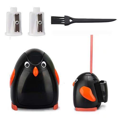 Elektrischer Anspitzer für Bleistift und Buntstift, MiniGreen Automatischer Bleistiftspitzer (Batterien nicht enthalten) Cartoon Pencil Sharpener für Kinder Schule Klassenraum - Pinguin