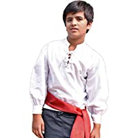 ThePirateDressing Kids Pirate Medieval Renaissance Medieval Cosplay Costume 100% Cotton Captain Kennit Shirt