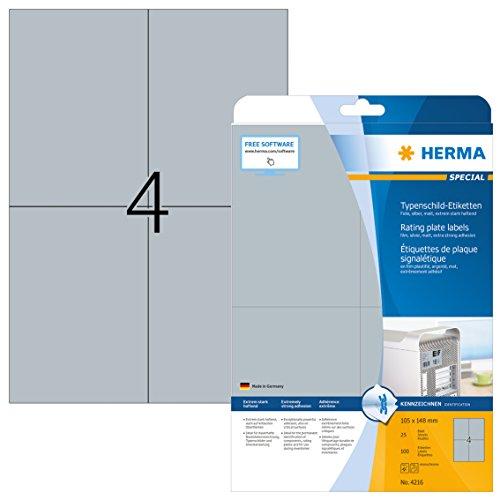 Herma 4216 Typenschild Folien-Etiketten wetterfest, silber (Format DIN A6 105 x 148 mm) 100 Aufkleber, 25 Blatt DIN A4 Klebefolie matt, bedruckbar, extrem stark selbstklebend (Folie-etiketten)