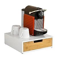 SoBuy® FRG179-WN Boîte de rangement à tiroir pour capsules de thé et café Boîte à Capsules de Café, Boîte à thé L30xP31xH9cm