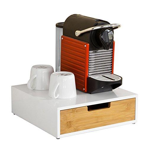 SoBuy® FRG179-WN Kaffeekapsel Box aus MDF und Bambus Kapselspender Kapselhalter für Kapseln Kapselständer Monitorständer Monitorerhöhung mit Schublade