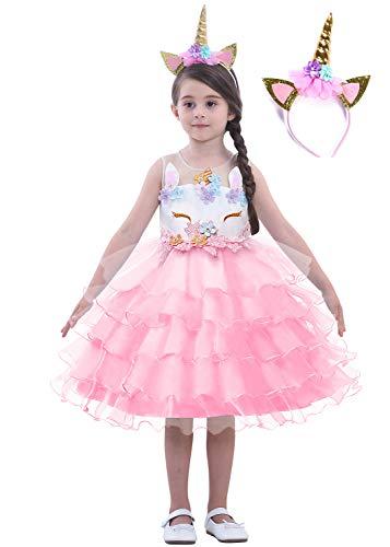 Dolamen Mädchen Prinzessin Kleid Cosplay Einhorn Verrücktes Partei Kostüm Outfit für Fest Karneval Weihnachten Halloween Geburtstag Kopfbedeckungen (150 fit für Höhe 140-150cm (55
