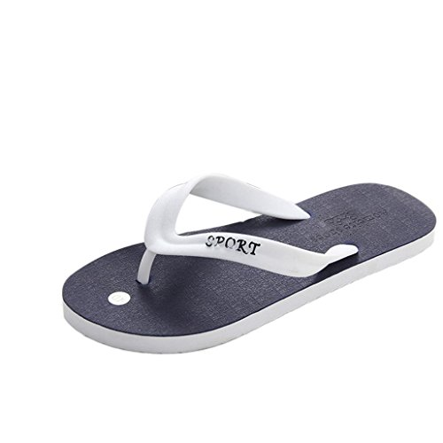 Wawer Herren Sommer Casual PVC Flip-Flops Hausschuhe Strand Sandalen Indoor & Outdoor Freizeit Schuhe (Blau, 43) Weiße Männer Gucci-schuhe
