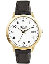 Reflex Herren Armbanduhr Rund Zifferblatt mit Schwarz PU Lederband und Datum Funktion ref0056