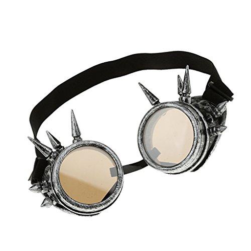 Preisvergleich Produktbild Rivet Steampunk Winddicht Spiegel Weinlese-gotische Objektive Goggles Glasses - Silber,  Moule grand
