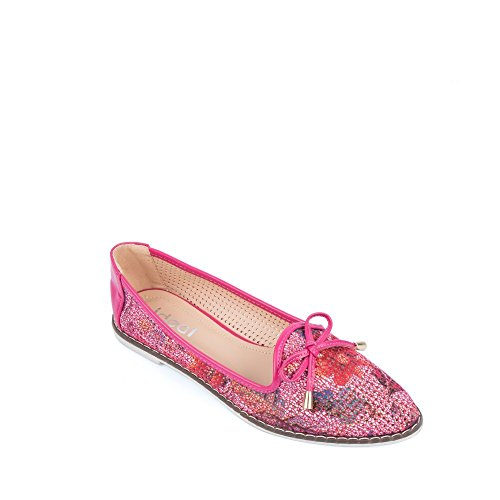 Ideal Shoes Mocassins Perforées à Bout Pointu Korn Rose