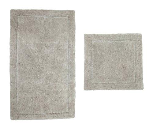 Casalanas - Santorin, Beidseitig verwendbar, schwerer Badezimmerteppich, 100% Natur-Baumwolle, 2-teilig(60x60 + 120x70)cm, - Natur-badezimmer-teppich
