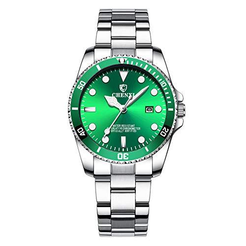 Orologi polso stile sottomarino calendario quarzo orologi donna cinturino in acciaio inox classico, verde