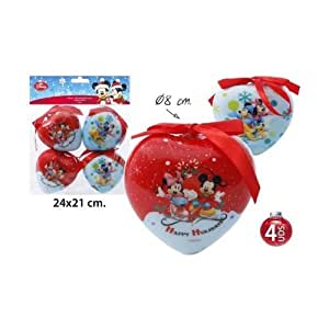Disney mickey mouse minnie c ur boules de no l cimier for Decoration de noel amazon