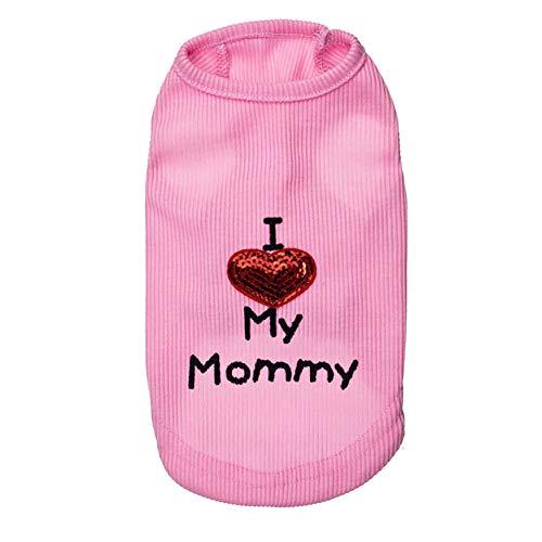 CplaplI Haustierkleidung I Love My Mommy/Daddy mit Buchstaben Bedruckt, ärmellos