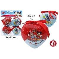 Disney mickey mouse minnie &cœur boules de noël cimier ø8cm 4 pièces