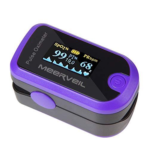 Meerveil Pulsoximeter, Fingerpulsoximeter für die Messung der Sauerstoffsättigung und des Pulsfrequenz, Pulsmessgerät am Finger, Lila