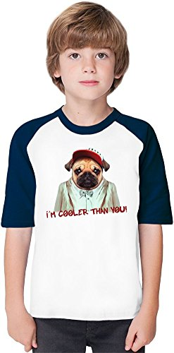 I'm Cooler Than You Soft Material Baseball Kids T-Shirt by Benito Clothing - 100% Organic, Hypoallergenic Cotton- Casual & Sports Wear - Unisex for Boys and Girls