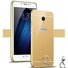 PREVOA Meizu M5 - Metal Bumper Frame Funda + Back Plastic Cover Case para Meizu M5 - Smartphone libre 4G 5.2 Pulgadas - Oro