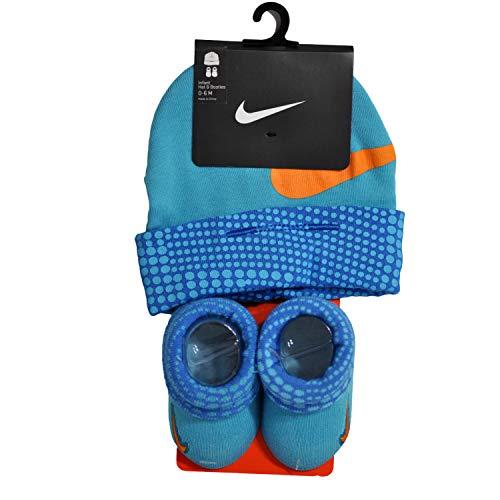 Nike Baby Infant Hat & Booties Mütze und Socken Set Jungen 0-6 Monate (Omega Blau Orange/Gelb) -