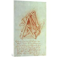 """Cuadro en lienzo: Leonardo da Vinci """"Codex Madrid II/154-V Design"""" - Impresión artística de alta calidad, lienzo en bastidor, 70x100 cm"""
