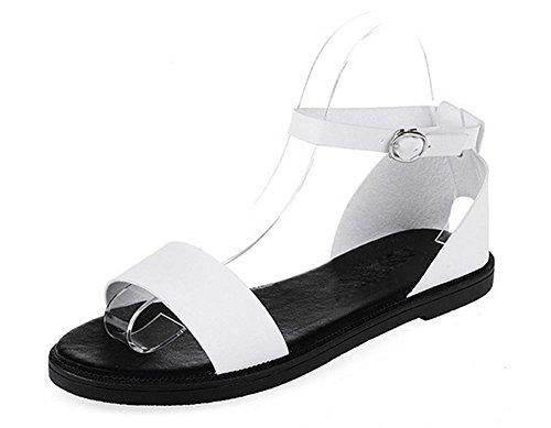 Sommermode Frauensandelholzen Dame Sandalen römische Wort Schnalle Schuhe,  flache Sandalen Strand White