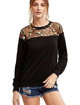 MIOIM Camisetas Para Mujer de Hueco Fría Manga Larga Tops bordada Yoke de malla-negro Suéter