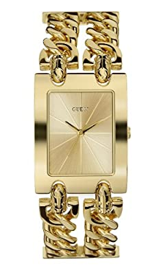 Guess Heavy Metal 90176L1 de cuarzo, correa de acero inoxidable color oro