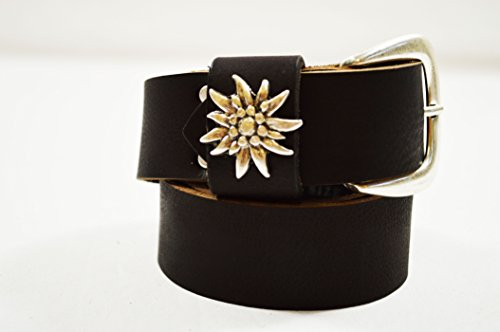 SCAMODA Herren Echt-Leder Trachten-Gürtel aus echtem Büffelleder mit dekorativen Metall-Edelweiß, Lederhosen-Gürtel, Breite ca. 4 cm (125)