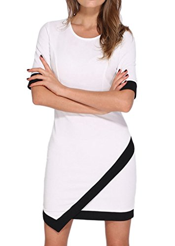 Bigood Robe Femme Robes de Soirée Zip Col Rond Elégant Eté Blanc