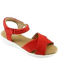 Aerobics Dina Sandale Compensée A Scratch Nu-Pied Confort Pied Sensible  Chaussures Semelle Bloque pour Femme Marque Cuir… 2ec40ff3444