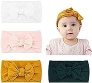 Makone Vendas del bebé (3-8 piezas) súper elásticas Suaves Nudo de bebé Turbante, Multicolor Hairband de los b