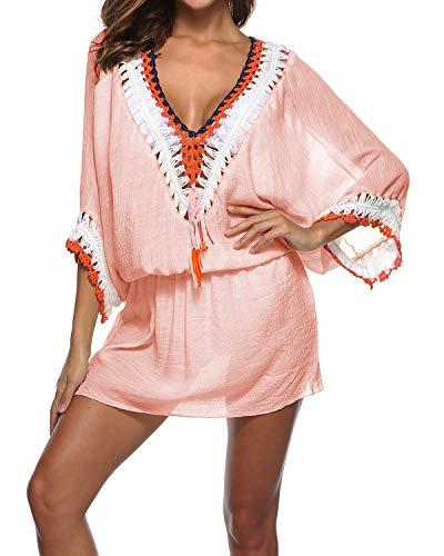 kenoce Damen V-Ausschnitt Strandkleid Sommerkleid Minikleid Kleider Reizvolle Strandponcho Cover up Bikinikleid Rosa One Size Fit - Bademode Cover Up Rock Kleid