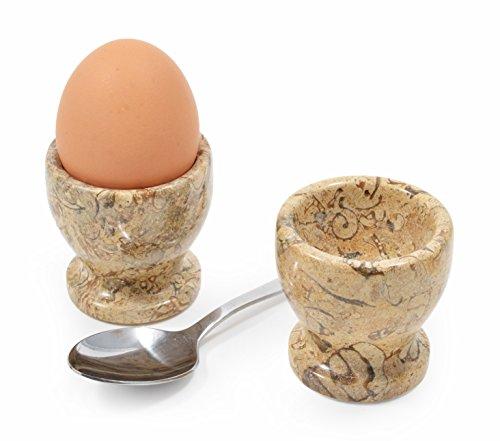 Set von 2 Marmor Eierbecher, handgeschnitzt, Fossilstone preisvergleich
