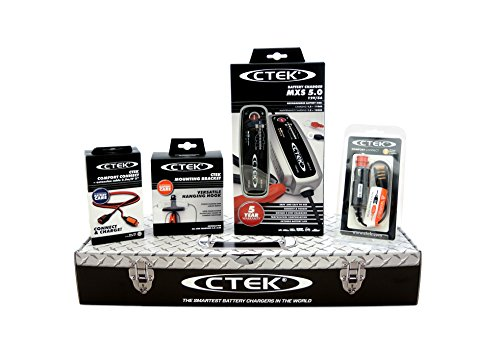 CTEK MXS 5.0 (56-305) Toolbox Set Caricabatteria, 12 V-5A, con Accessori di Connessio