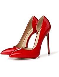 Bien con zapatos de tacón alto de 12 CM ( Color : Rojo , Tamaño : 40 )