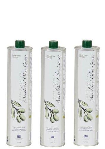 Manolakis Kreta Natura Olivenöl extra nativ aus Kreta, Stahlflasche, 750 ml Säure 0,3 % (3er Pack, insgesamt 2,25 Liter)