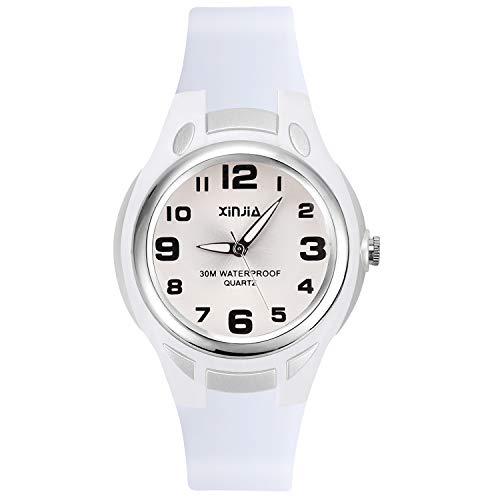 Kinder Analoge Uhren,Jungen Mädchen Armbanduhr wasserdichte Leicht zu Lesen Zeit Weicher Riemen Armbanduhren Geschenk für Kinderuhr (Weiß)