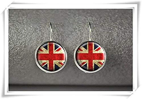 JUN Britische Flagge Ohrringe, Englisch Flagge Ohrringe, Dome Glas Schmuck, Pure Handgefertigt -